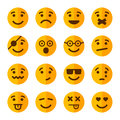 Flat Style Smile Emotion Icons Set. Vector Royalty Free Stock Photo