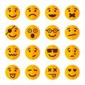 Flat Style Smile Emotion Icons Set. Vector Royalty Free Stock Photo