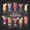 Flat style Valentine cocktail menu