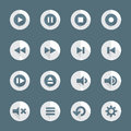 Flat style various media player icons set Royalty Free Stock Photo