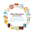 Flat Style Vector Circle Template Collection of Business Workpla