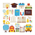 Flat Style Vector Collection of Back to School and Education Obj Royalty Free Stock Photo