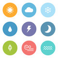 Flat style weather icons Royalty Free Stock Photo