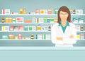 Flat style young pharmacist at pharmacy opposite shelves of medicines