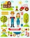 Flat stylish icons for gardening concept garden set tools garden set design vector Stock Images