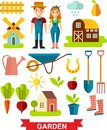 Flat stylish icons for gardening concept garden set tools garden set design vector Stock Photography