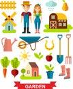 Flat stylish icons for gardening concept garden set tools garden set design vector Stock Photography