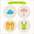 Flat Summer Beach Website Icons Set