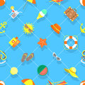 Flat Summer Vacation Beach Icons Seamless Background Pattern Royalty Free Stock Photo