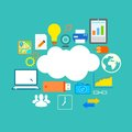 Flat technology design of cloud computing illustration showing icon in concept Stock Images