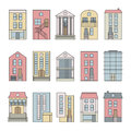 Flat thin line color vector city buildings skyline constructor set.