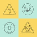 Flat thin line vector warning signs, symbols. Royalty Free Stock Photo