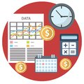 Flat time is money concept background. Abstract flat vector illustration of accounting concept. Elements for mobile and web Royalty Free Stock Photo