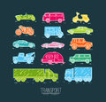 Flat transport icons blue Royalty Free Stock Photo