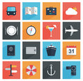 Flat travel icons with long shadow tourism and va vacation illustration Royalty Free Stock Image