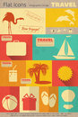 Flat travel icons set items in retro style in mobile ui style illustrations Royalty Free Stock Images