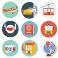 Flat travel icons vector illustration Royalty Free Stock Photo