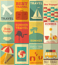Flat travel posters set vacation items in retro style design style illustrations Royalty Free Stock Photo