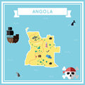 Flat treasure map of Angola.