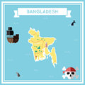 Flat treasure map of Bangladesh.