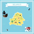 Flat treasure map of Belarus.