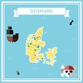 Flat treasure map of Denmark.