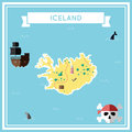 Flat treasure map of Iceland.