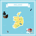 Flat treasure map of Ireland.