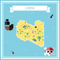Flat treasure map of Libya.