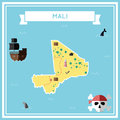 Flat treasure map of Mali.