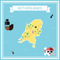 Flat treasure map of Netherlands.