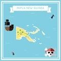 Flat treasure map of Papua New Guinea.