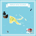 Flat treasure map of Papua New Guinea.