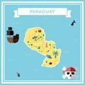 Flat treasure map of Paraguay.