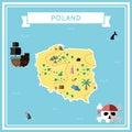 Flat treasure map of Poland.