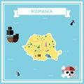 Flat treasure map of Romania.