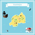 Flat treasure map of Rwanda.