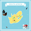 Flat treasure map of South Africa.