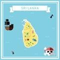 Flat treasure map of Sri Lanka.