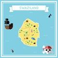 Flat treasure map of Swaziland.