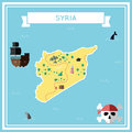 Flat treasure map of Syrian Arab Republic.