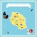Flat treasure map of Tanzania, United Republic of.