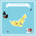 Flat treasure map of United Arab Emirates.