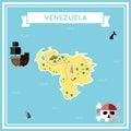 Flat treasure map of Venezuela, Bolivarian.