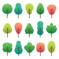 Flat trees set. Garden tree trunk, bush and pine. Nature green landscape vector isolated illustration Royalty Free Stock Photo