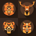 Flat trendy low polygon style animal avatar icon set. Vector illustration.