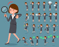 Flat type Gray suit business woman_2