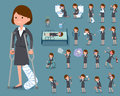 Flat type Gray suit business woman_sickness