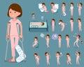 Flat type patient woman_sickness