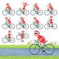Flat type Santa Claus Costume mom_road bike Royalty Free Stock Photo